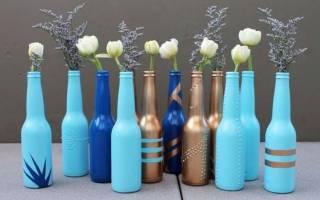 Как декорировать бутылку под вазу