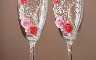 Как самой украсить свадебные бокалы